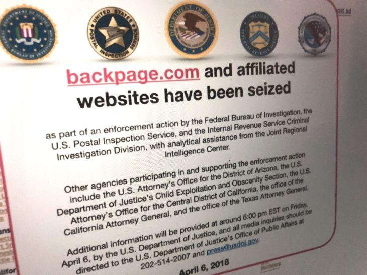 Imagem do Backpage.com fechado por censura imposta pelo governo dos EUA
